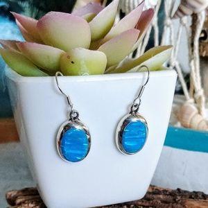 🆕⛱️ Mexico Sterling Silver Blue Fire Opal Earring